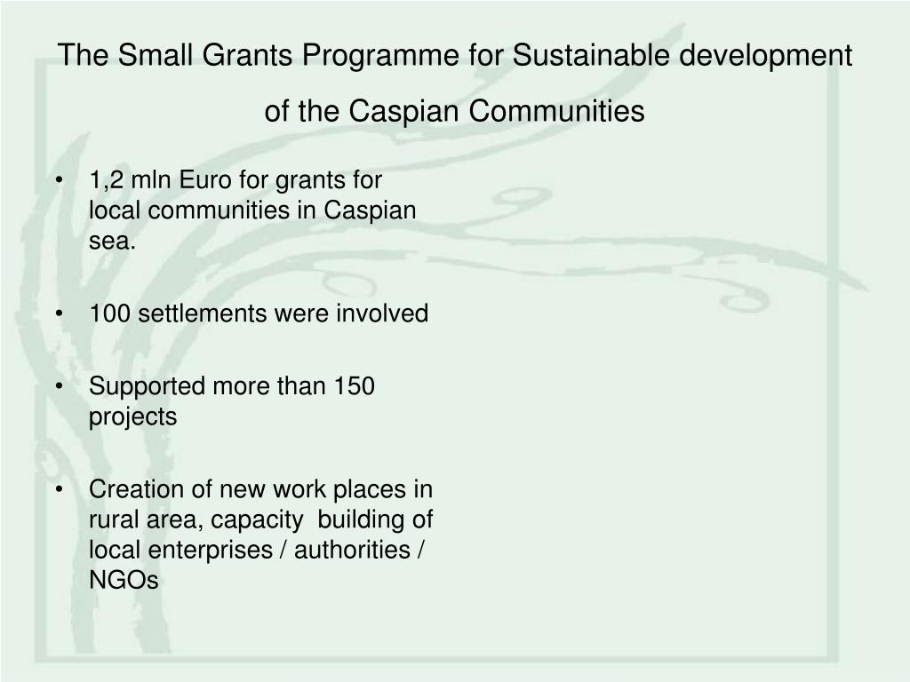 The Small Grants Programme for Sustainable development of the Caspian Communities
