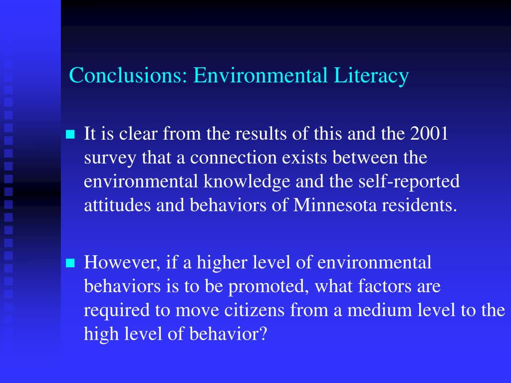 Conclusions: Environmental Literacy