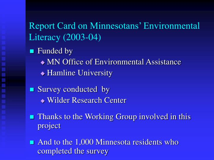 Report card on minnesotans environmental literacy 2003 042
