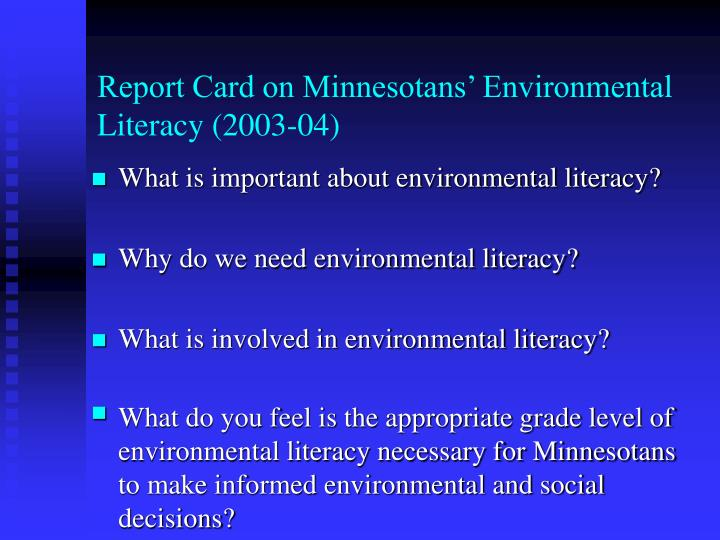 Report card on minnesotans environmental literacy 2003 043