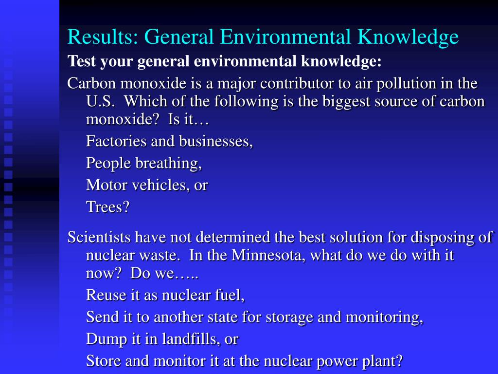 Results: General Environmental Knowledge