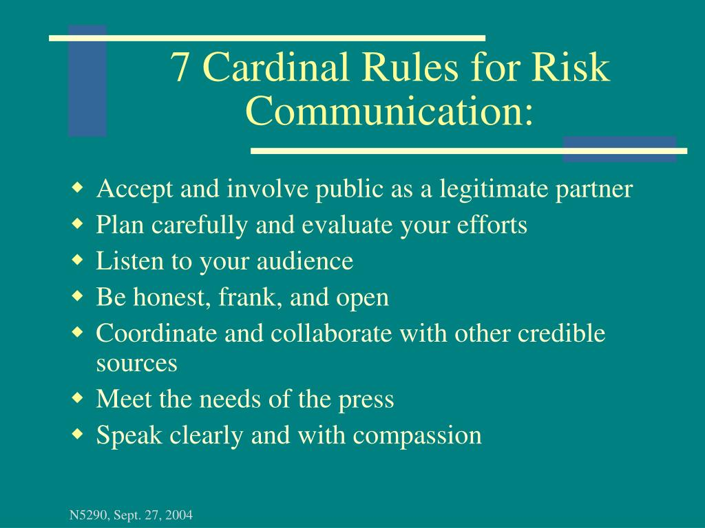 7 Cardinal Rules for Risk Communication: