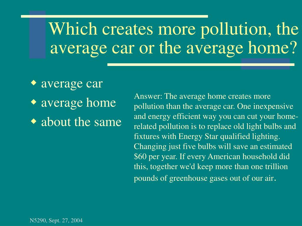 Which creates more pollution, the average car or the average home?