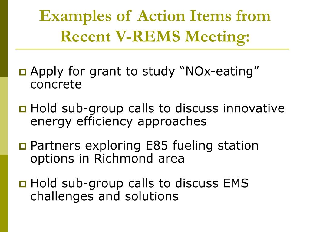Examples of Action Items from Recent V-REMS Meeting: