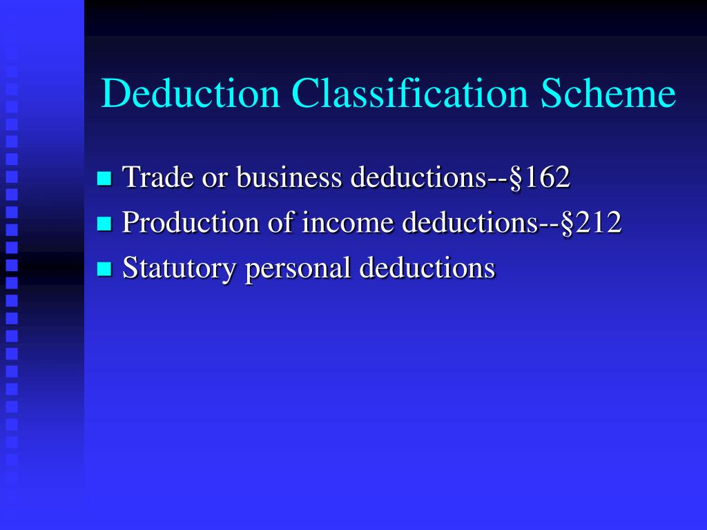 Deduction Classification Scheme