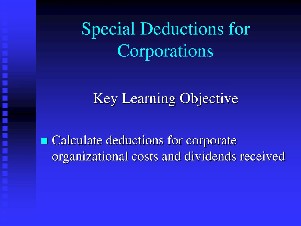 Special Deductions for Corporations