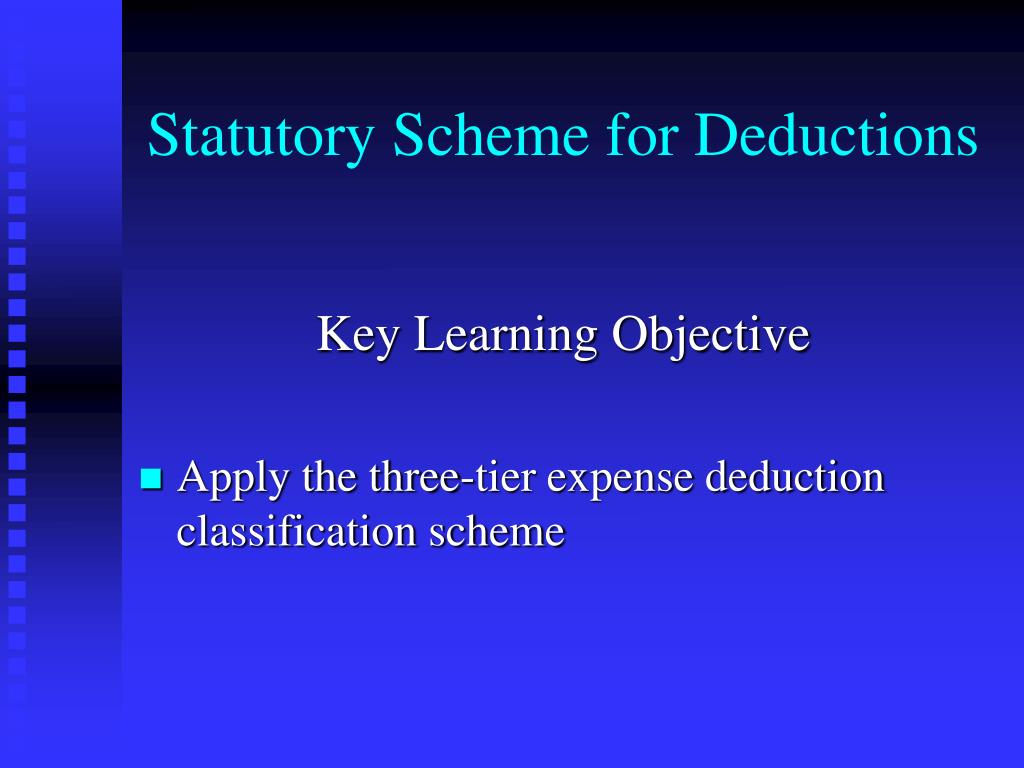 Statutory Scheme for Deductions