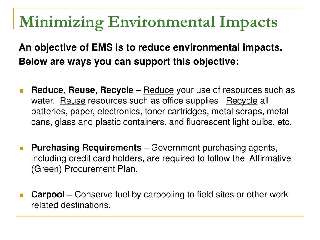 Minimizing Environmental Impacts