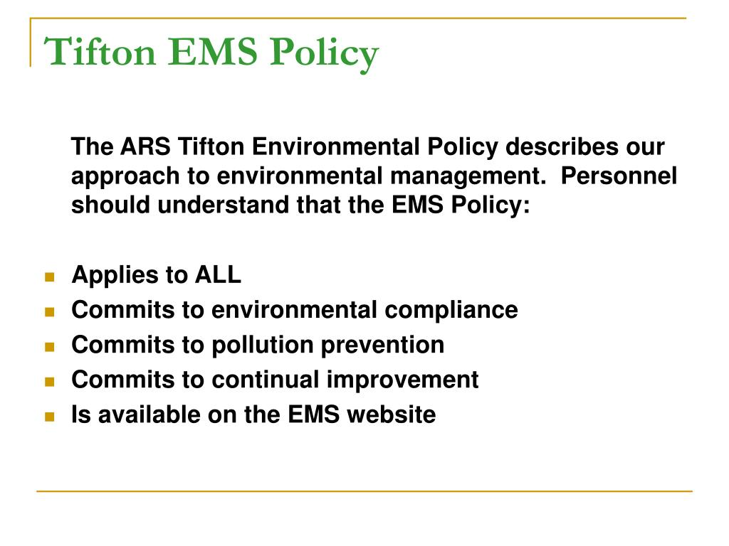 Tifton EMS Policy