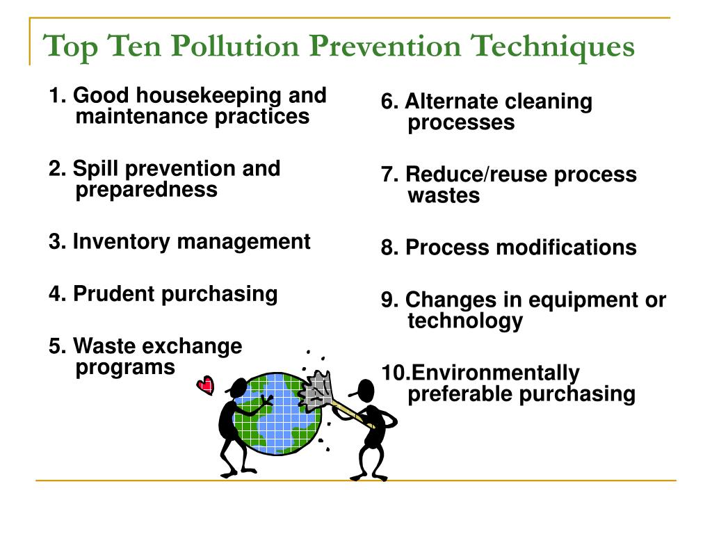 1. Good housekeeping and maintenance practices