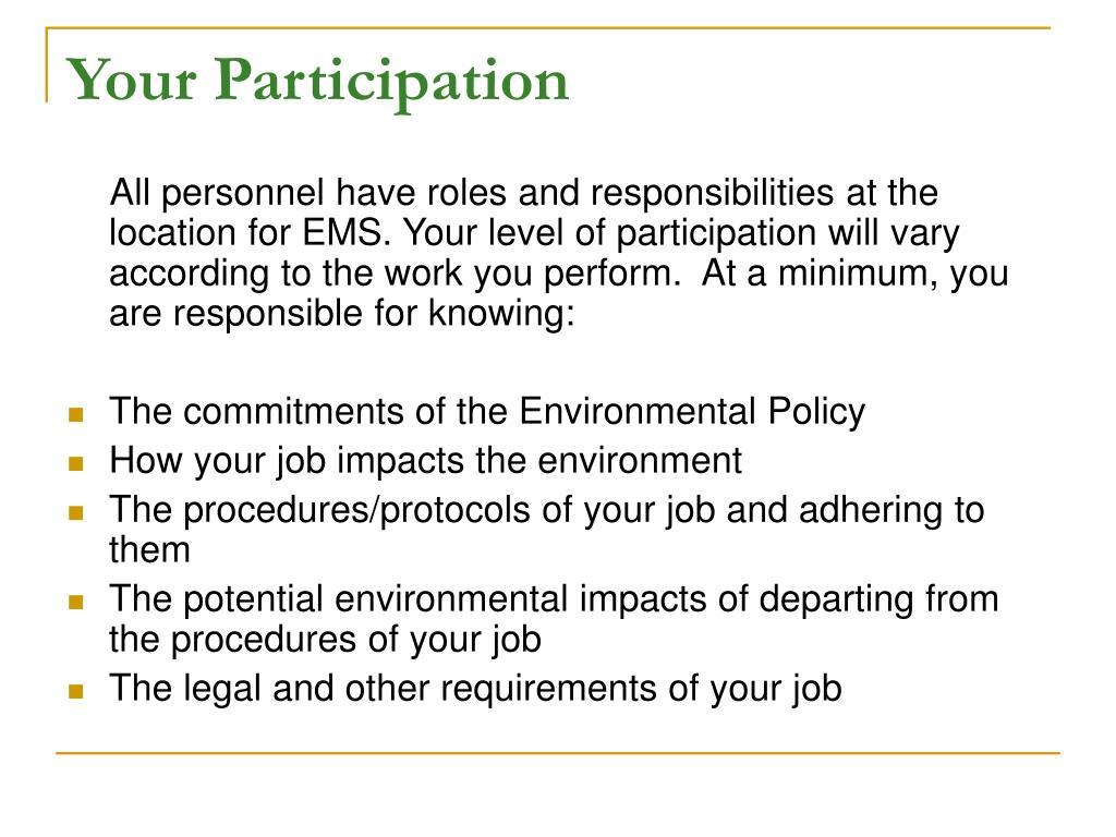 Your Participation