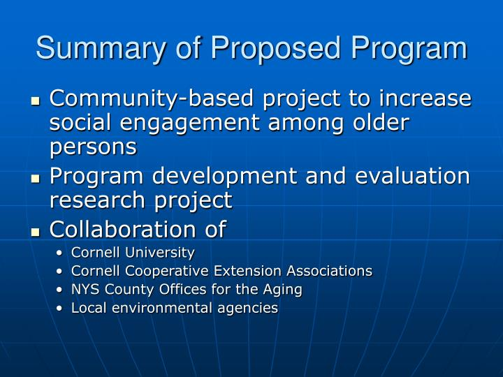 Summary of proposed program