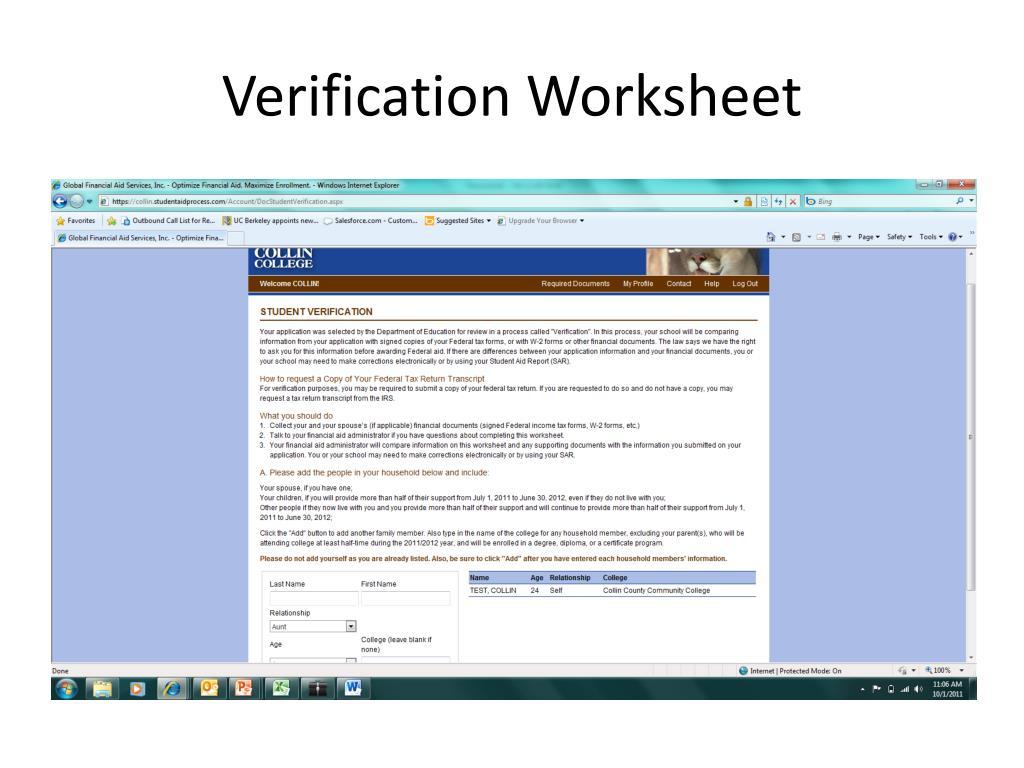Verification Worksheet
