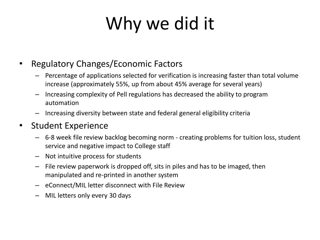 Why we did it