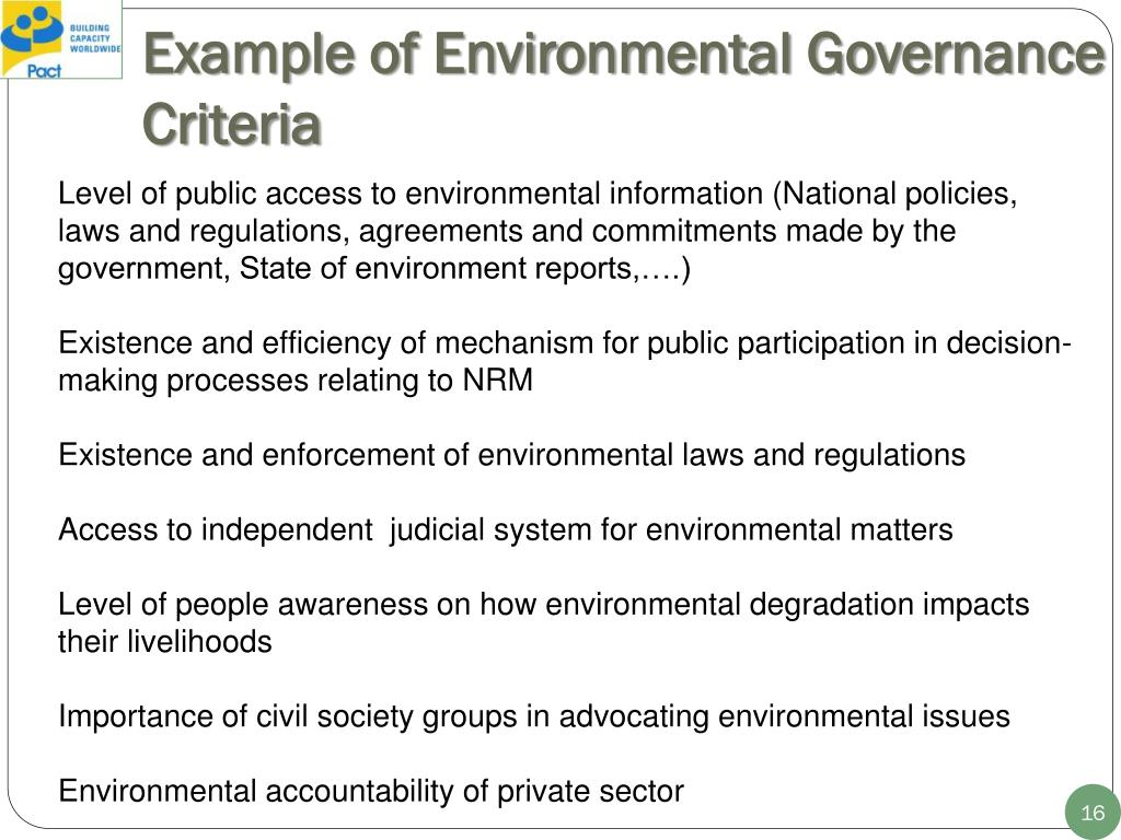Example of Environmental Governance Criteria