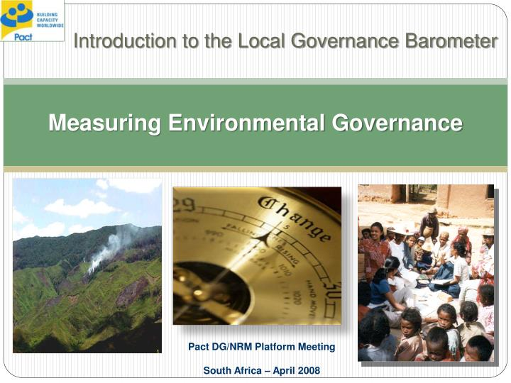 Measuring environmental governance