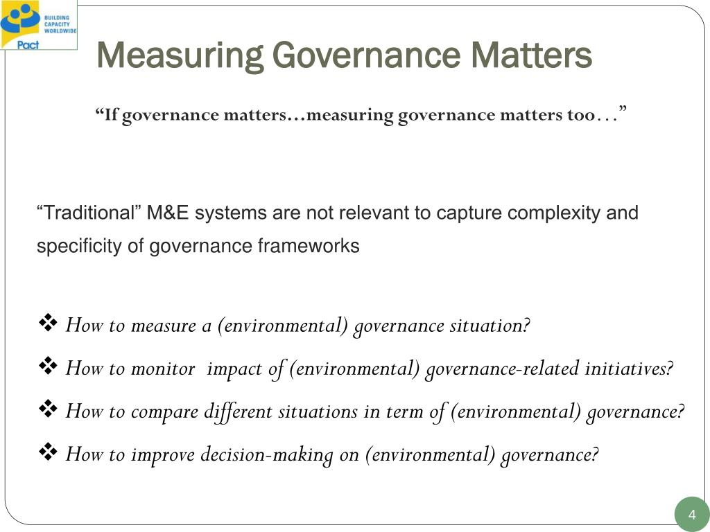Measuring Governance Matters