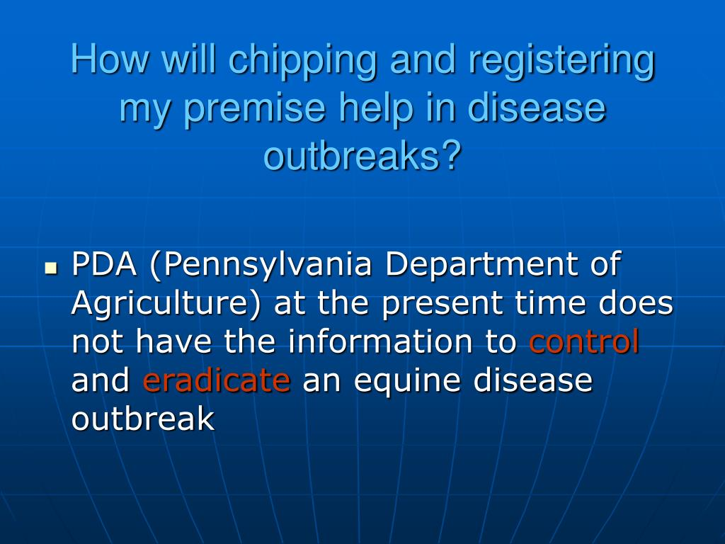 How will chipping and registering my premise help in disease outbreaks?
