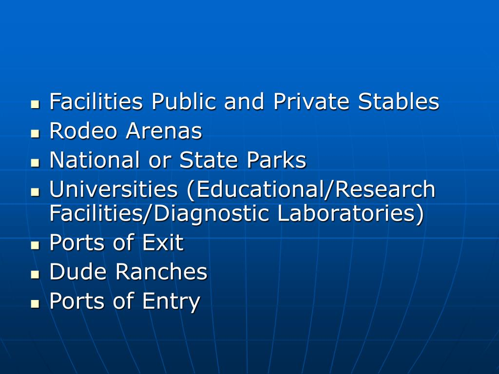 Facilities Public and Private Stables