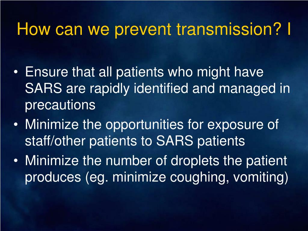 How can we prevent transmission? I