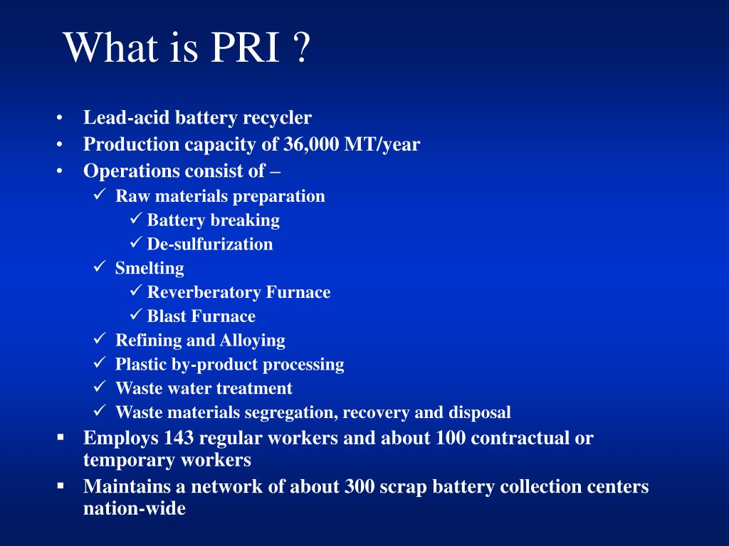 What is PRI ?