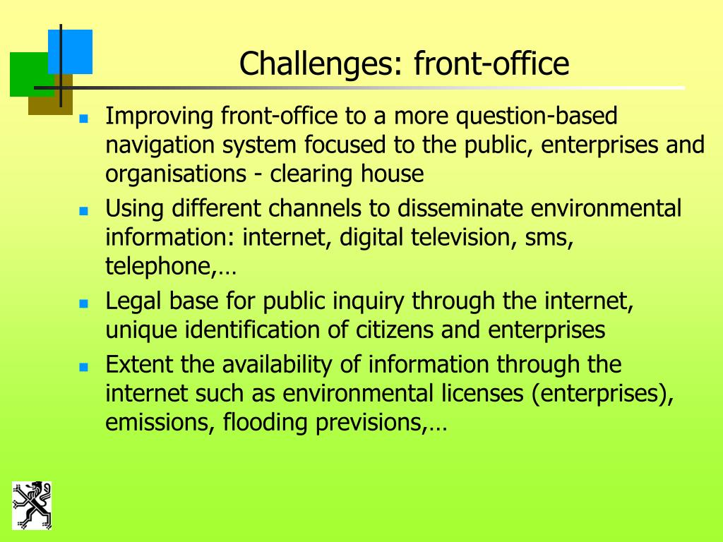 Challenges: front-office