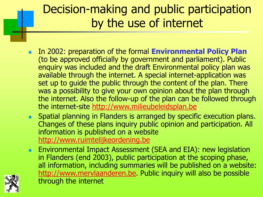 Decision-making and public participation by the use of internet