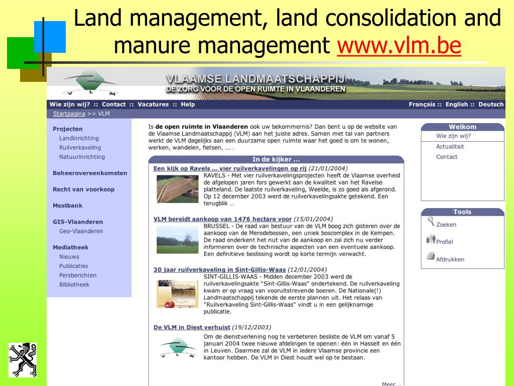 Land management, land consolidation and manure management