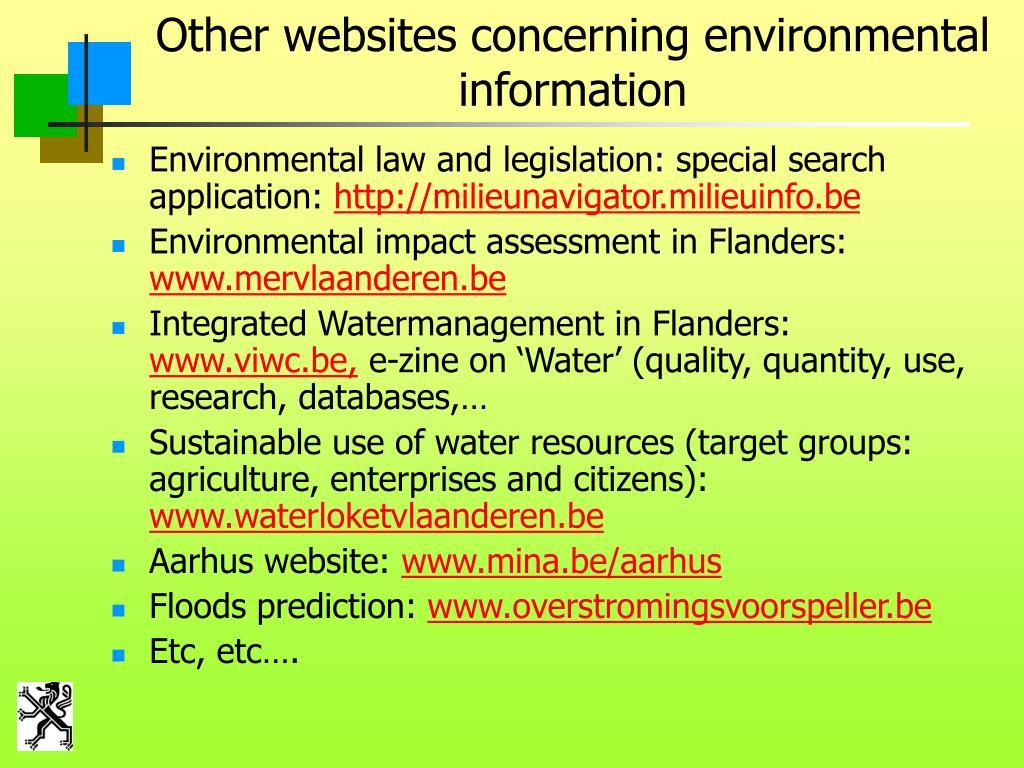 Other websites concerning environmental information
