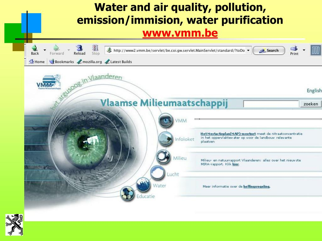 Water and air quality, pollution, emission/immision, water purification