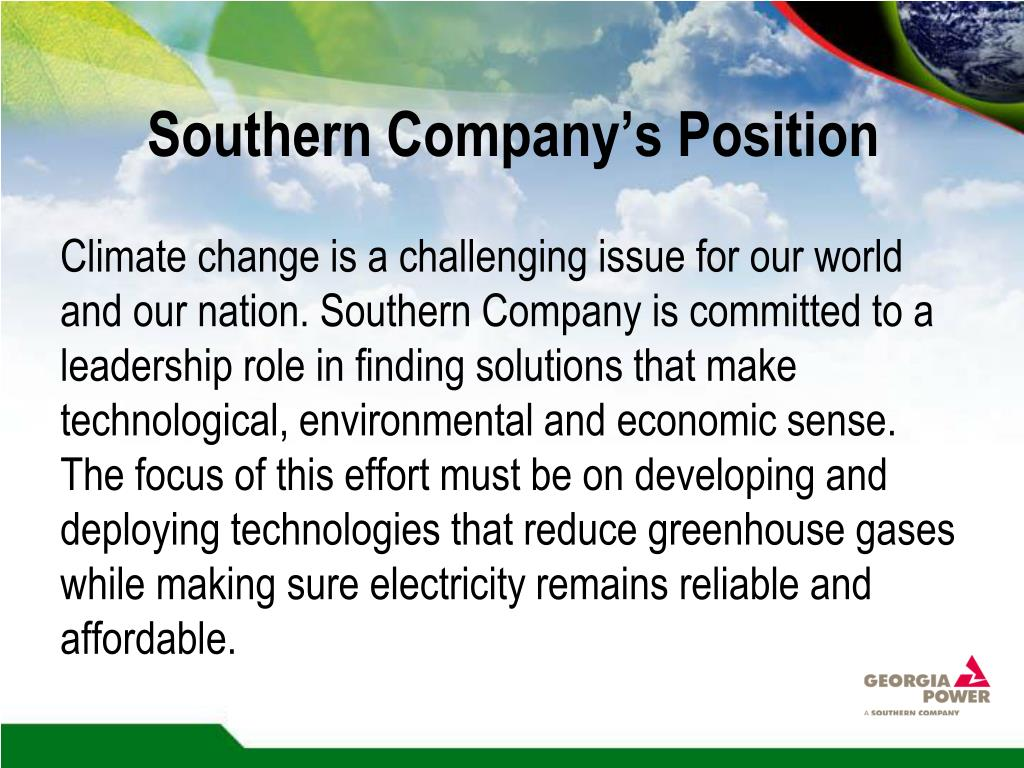 Southern Company's Position