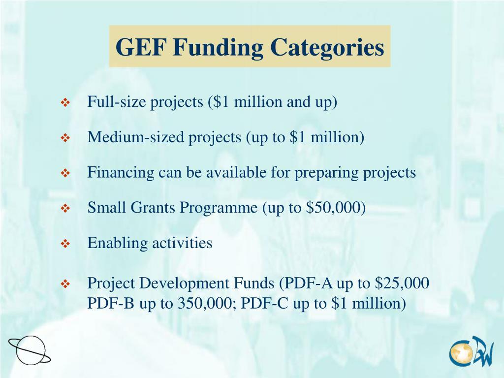GEF Funding Categories