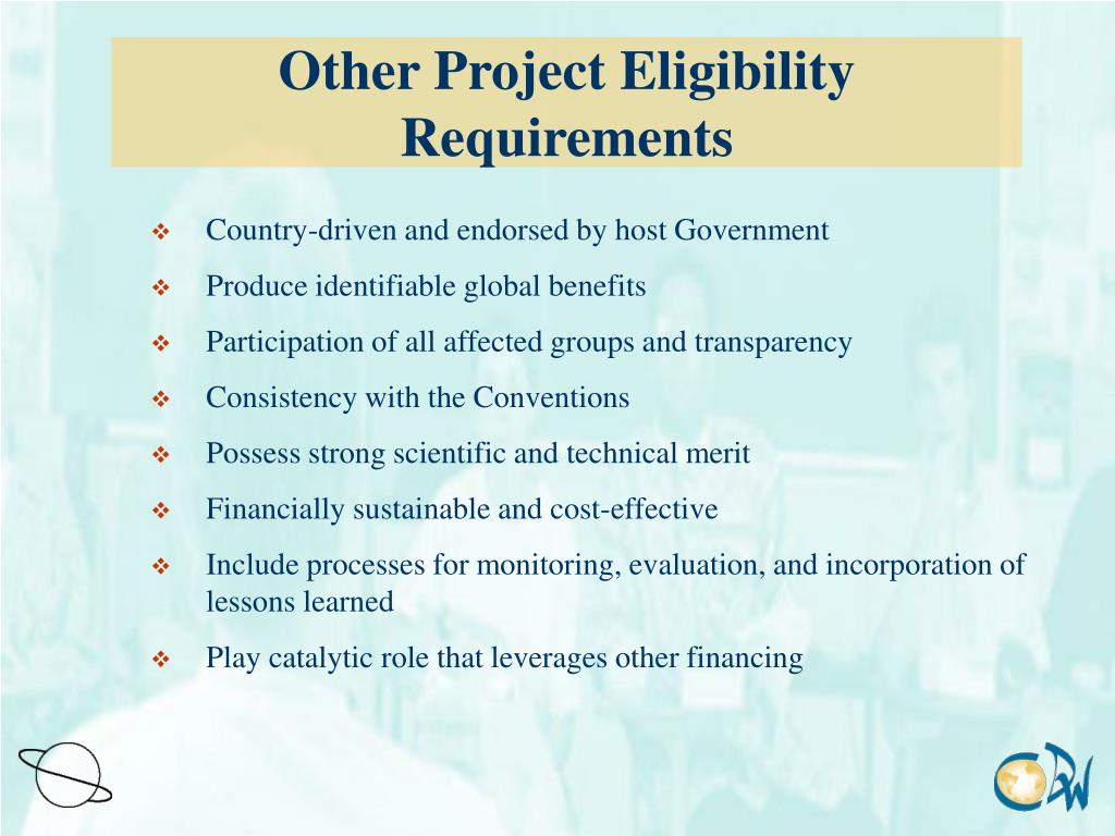 Other Project Eligibility Requirements