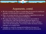 arguments contd