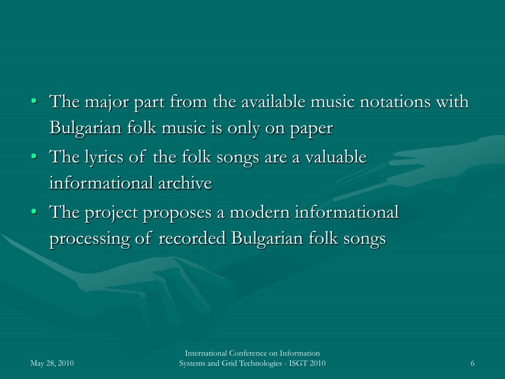 The major part from the available music notations with Bulgarian folk music is only on paper