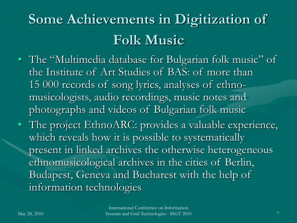 Some Achievements in Digitization of Folk Music