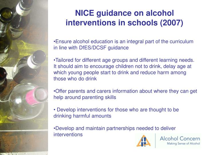 NICE guidance on alcohol interventions in schools (2007)