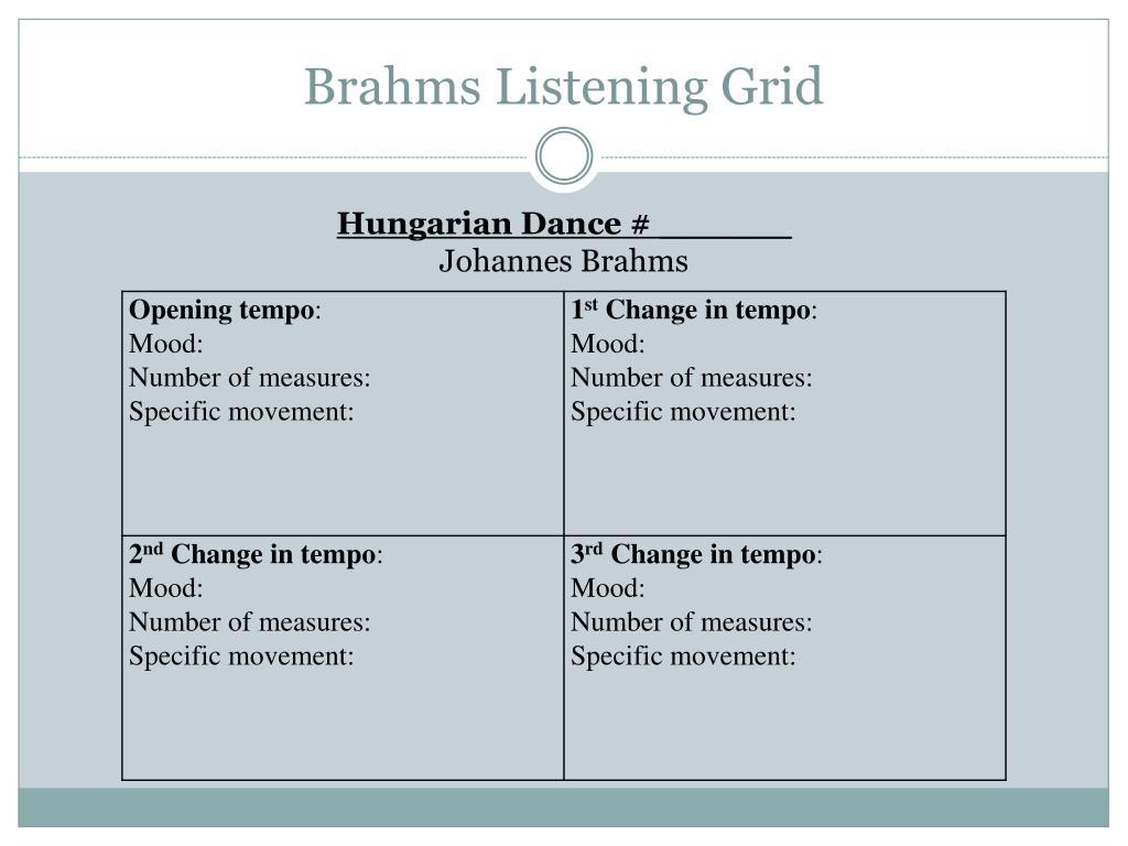 Brahms Listening Grid