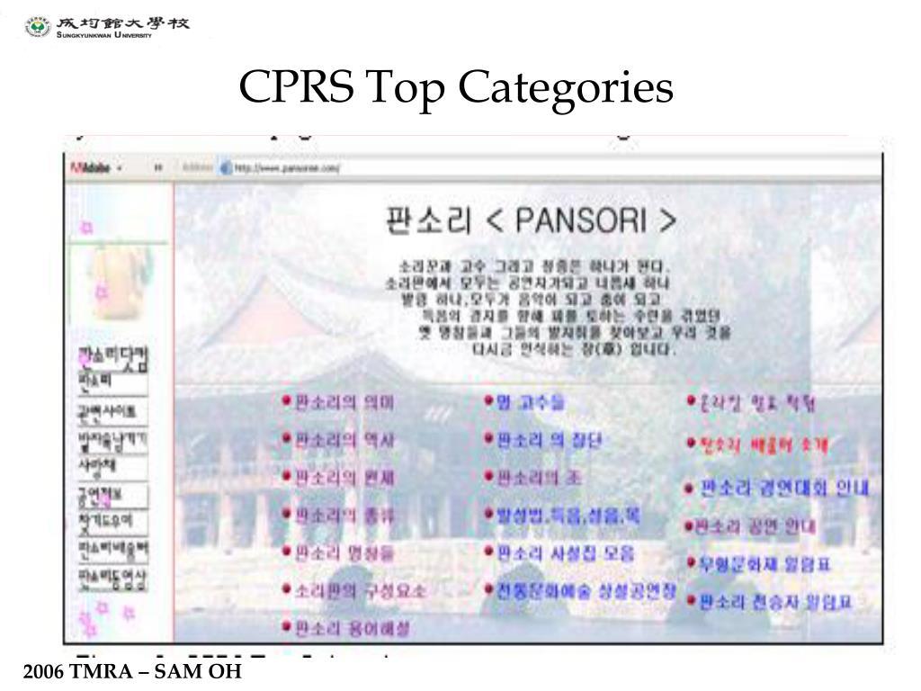 CPRS Top Categories