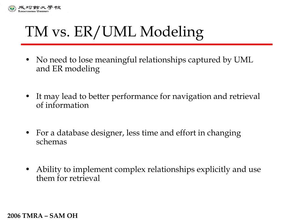 TM vs. ER/UML Modeling