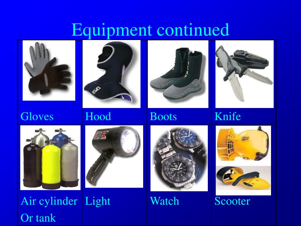Equipment continued