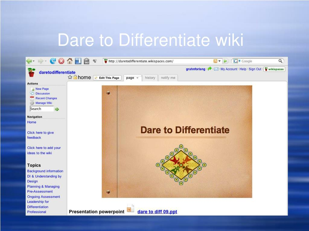 Dare to Differentiate wiki