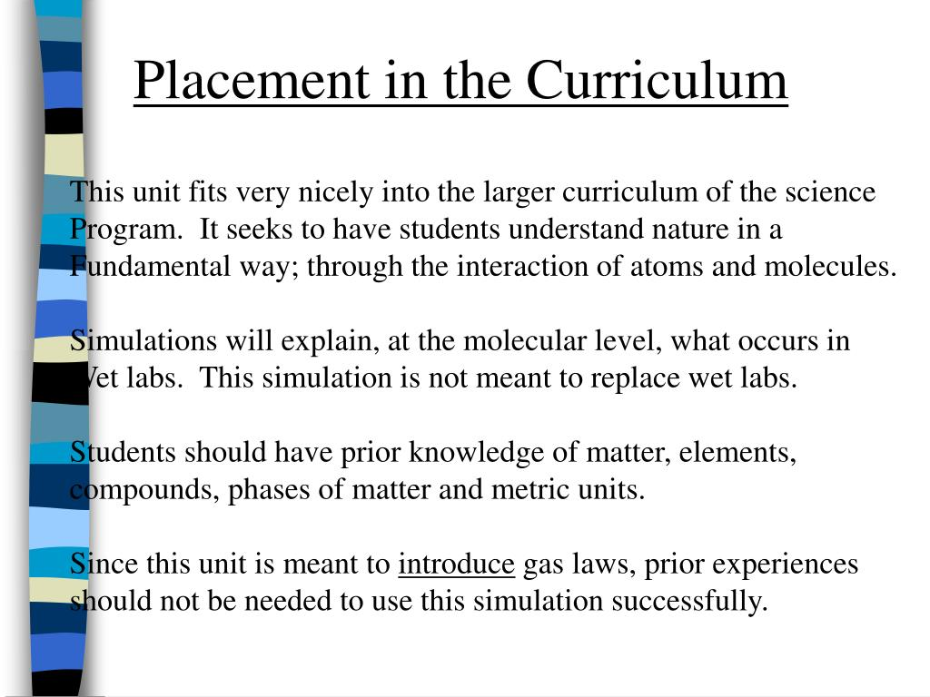 Placement in the Curriculum