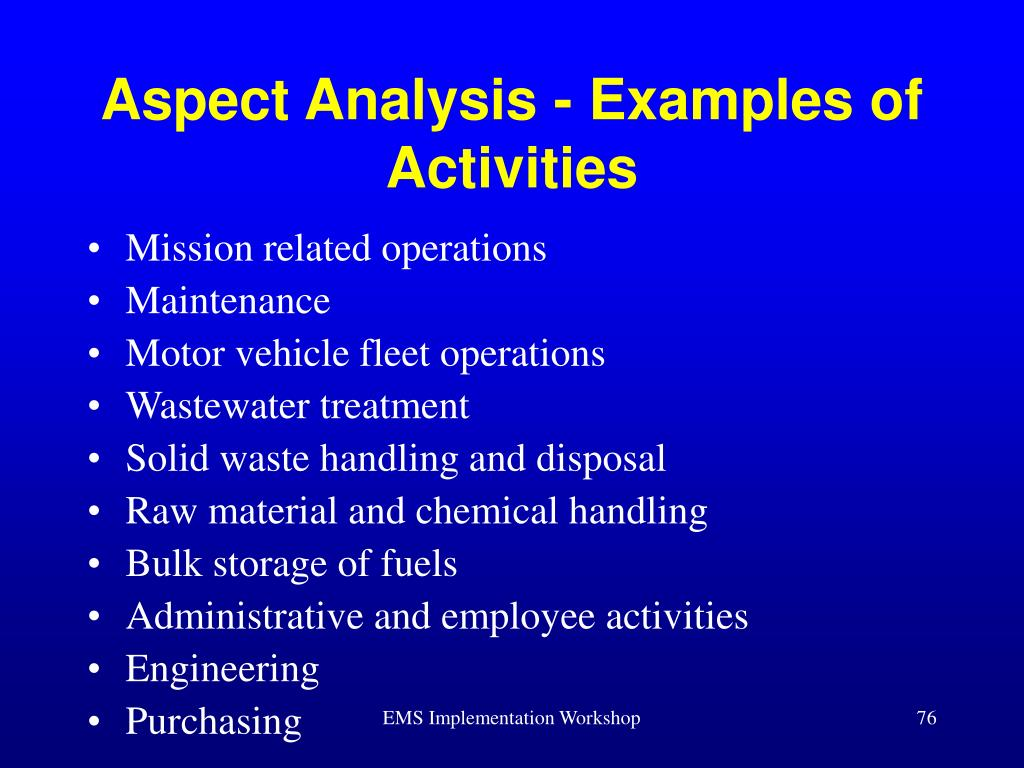 Aspect Analysis - Examples of Activities
