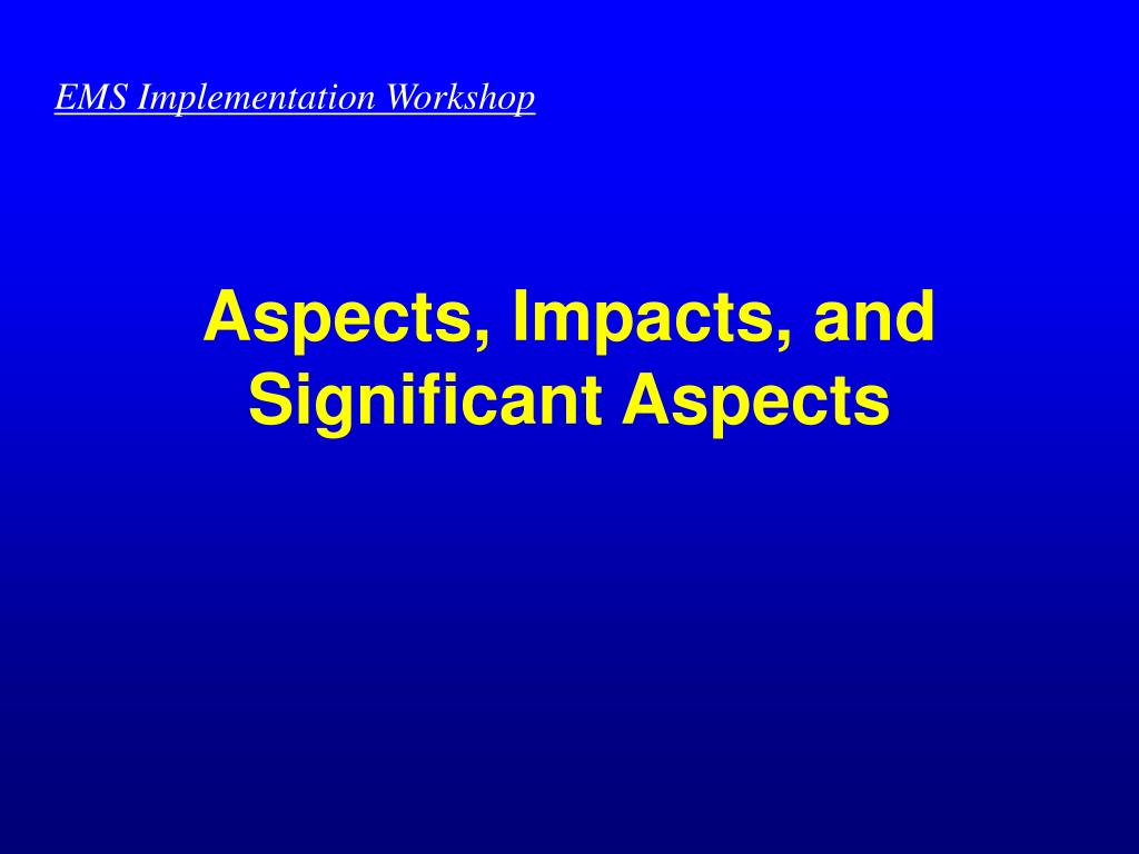 EMS Implementation Workshop