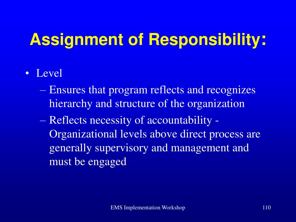 Assignment of Responsibility