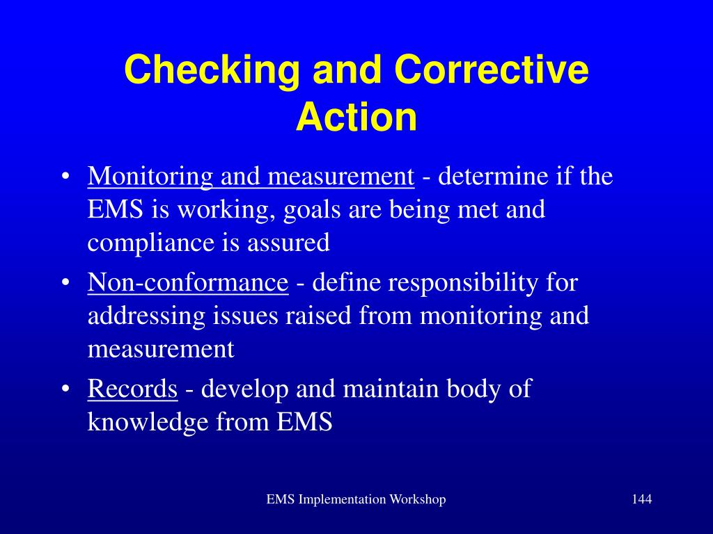 Checking and Corrective Action