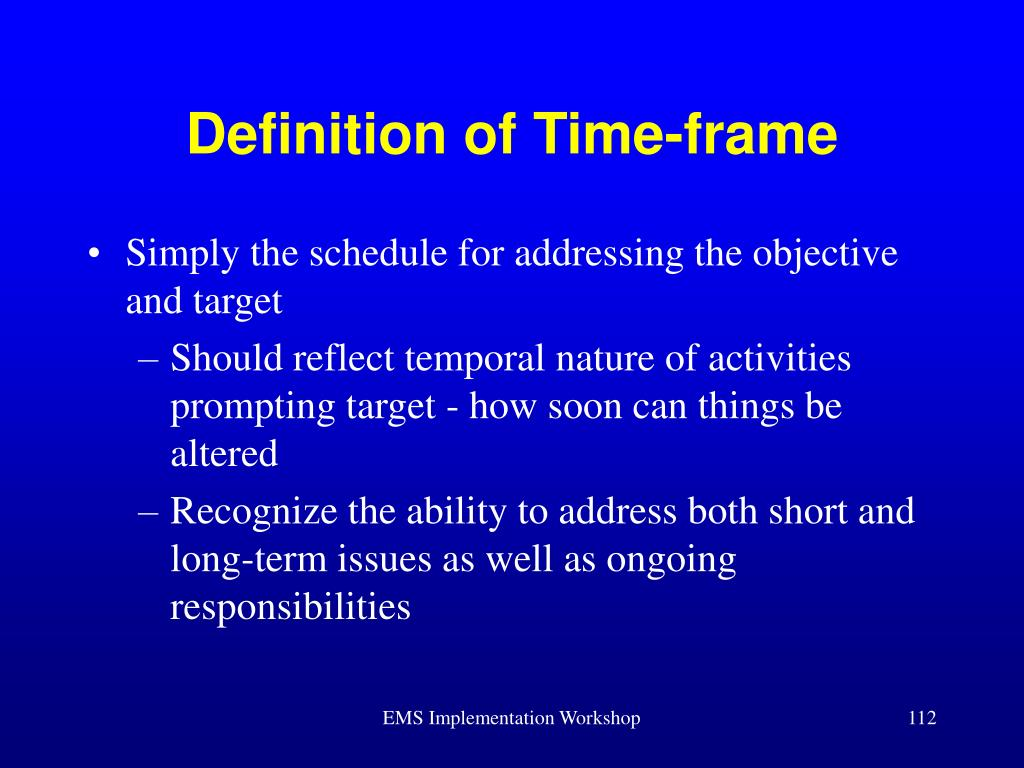 Definition of Time-frame