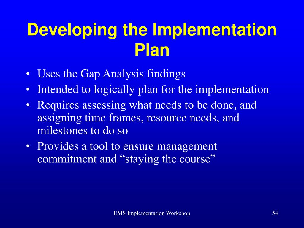 Developing the Implementation Plan