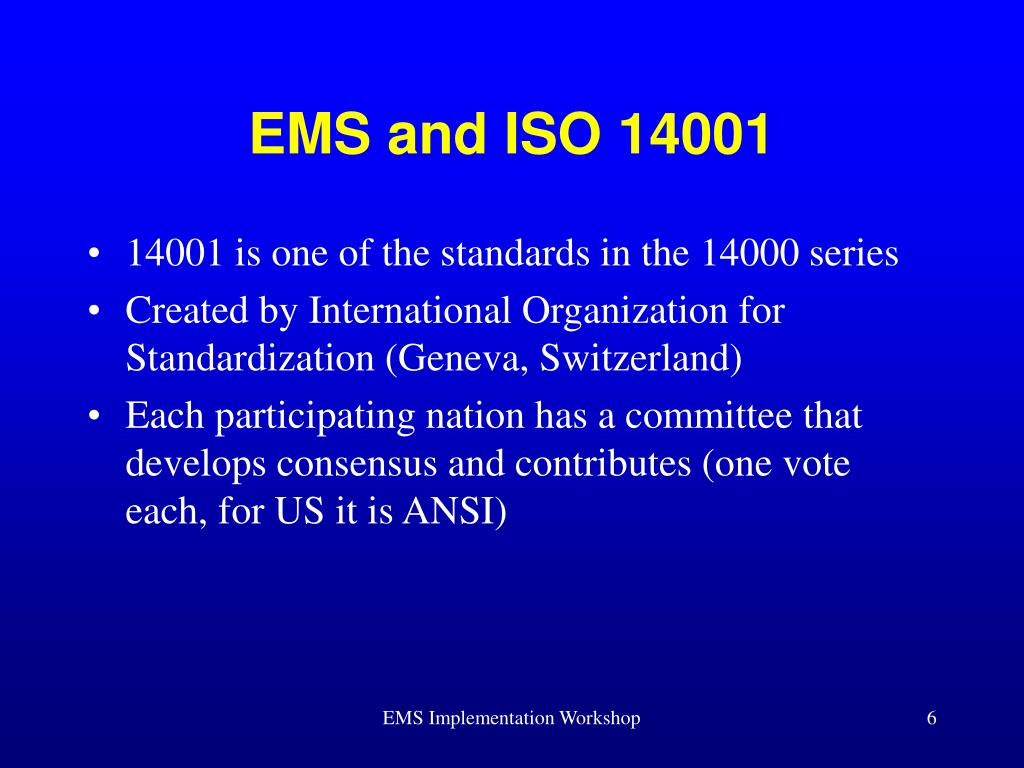 EMS and ISO 14001